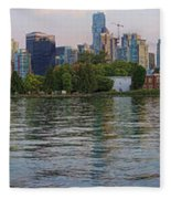 Panorama Of Coal Harbour And Vancouver Skyline At Dusk Fleece Blanket