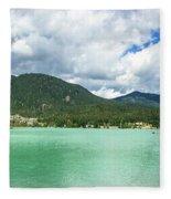 Panorama Of Green Lake, Whistler Fleece Blanket
