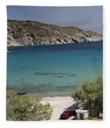 Panorama Of Mandrakia Fishing Village Milos Greece Fleece Blanket