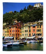Panorama Of Portofino Harbour Italian Riviera Fleece Blanket