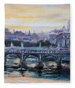 Panorama Of Rome Fleece Blanket