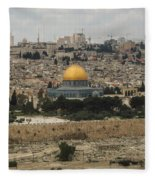 Panorama Of The Temple Mount Including Al-aqsa Mosque And Dome Fleece Blanket