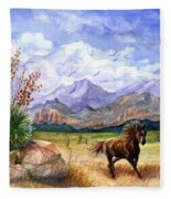 Panorama Triptych Don't Fence Me In  Fleece Blanket