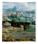 Panorama With The Abduction Of Helen Amidst The Wonders Of The Ancient World Fleece Blanket