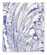 Panoramic Grunge Etching Royal Blue Color Fleece Blanket