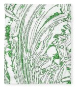 Panoramic Grunge Etching Sage Color Fleece Blanket