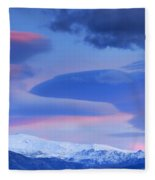 Panoramic Lenticular Clouds Over Sierra Nevada National Park Fleece Blanket