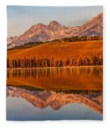 Panoramic Of Little Redfish Lake Fleece Blanket