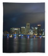 Panoramic Of Miami Florida Fleece Blanket