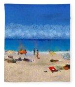 Panoramic Painting Of Porto Katsiki Beach Fleece Blanket