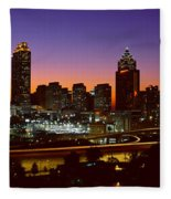 Panoramic View Of Atlanta Skyline Fleece Blanket