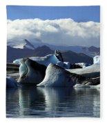 Panoramic View Of Icebergs And Glaciers Fleece Blanket