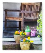 Pansies And Watering Cans On Steps Fleece Blanket