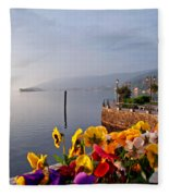 Pansies On Lake Maggiore Fleece Blanket