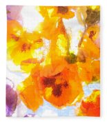 Pansy Flowers Fleece Blanket