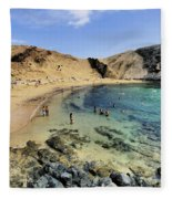 Papagayo Beach On Lanzarote Fleece Blanket