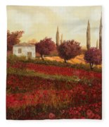 Papaveri In Toscana Fleece Blanket
