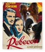 Papillon Art - Rebecca Movie Poster Fleece Blanket
