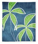 Paradise Palm Trees Fleece Blanket by Linda Woods