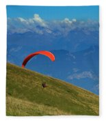 Paragliding In The Mountains Fleece Blanket