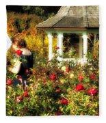 Parasol In Rose Garden Fleece Blanket