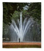 Parc De Bruxelles Fountain Fleece Blanket