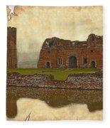 Parchment Texture Kirby Muxloe Castle Fleece Blanket