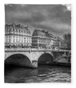 Paris Black And White Fleece Blanket