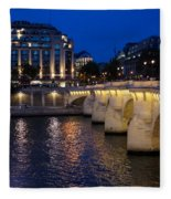 Paris Blue Hour - Pont Neuf Bridge And La Samaritaine Fleece Blanket