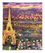 Paris City Of Lights Fleece Blanket