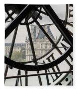 Paris Clock Fleece Blanket