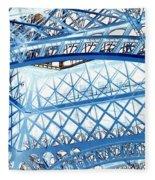 Paris Design In Blue Fleece Blanket