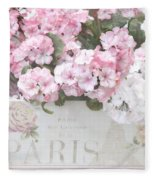 Paris Pink Flowers, Parisian Shabby Chic Paris Flower Box - Paris Floral Decor Fleece Blanket