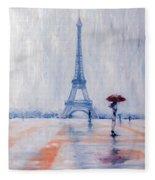 Paris In Rain Fleece Blanket