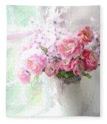 Paris Peonies Roses Shabby Chic Art - Romantic Paris Peonies And Roses Impressionistic Floral Art Fleece Blanket