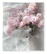 Paris Pink Impressionistic French Roses And Ranunculus - Shabby Chic Romantic Pink Flowers Fleece Blanket