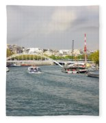 Paris River Cityscape Fleece Blanket