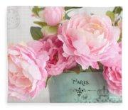 Paris Peonies Shabby Chic Dreamy Pink Peonies Romantic Cottage Chic Paris Peonies Floral Art Fleece Blanket