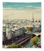 Paris Skyline France. Eiffel Tower Fleece Blanket
