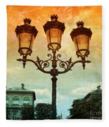 Paris Street Lamps With Textures And Colors Fleece Blanket