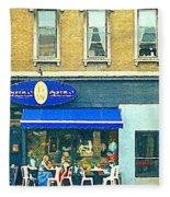 Paris Style French Bistro Art Sidewalk Cafe Terrace  Antique Shop C Spandau Montreal City Paintings Fleece Blanket