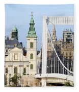 Parish Church And Elizabeth Bridge In Budapest Fleece Blanket
