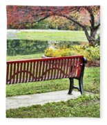 Park Bench By The Pond Fleece Blanket