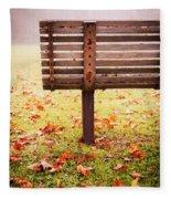 Park Bench In Autumn Fleece Blanket