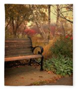 Park Bench In Autumn Fleece Blanket