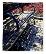 Park Bench With Flowers Fleece Blanket
