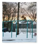 Park In Winter Fleece Blanket