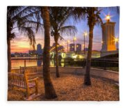 Park On The West Palm Beach Wateway Fleece Blanket