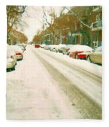 Parked Cars Snowed In Cold December Day Verdun Painting Quebec Winter Scenes Carole Spandau Art Fleece Blanket