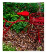 Parked Red Bicycle Fleece Blanket